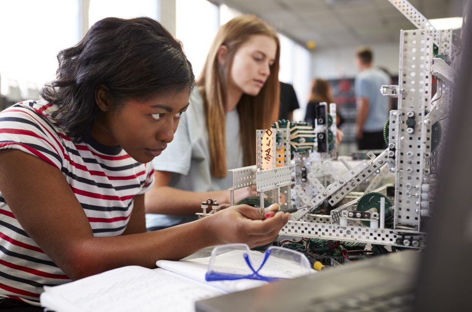 Two Female Students during a Robotics / Engineering Class